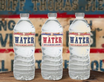 Vintage Baseball Water Bottle Labels - INSTANT DOWNLOAD - partially Editable & Printable Birthday Party Decorations, Tags, Decor, Ballgame,