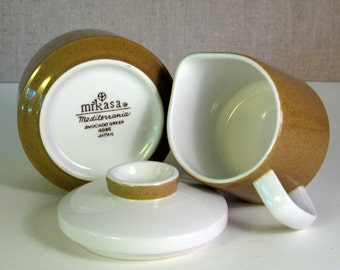 Retro Mikasa Mediterrania Avocado Green Cream and Sugar Set