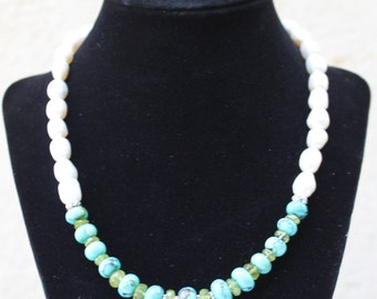 pearls with turquoise and peridot