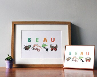 Personalised Name Print, Insect Alphabet Illustration