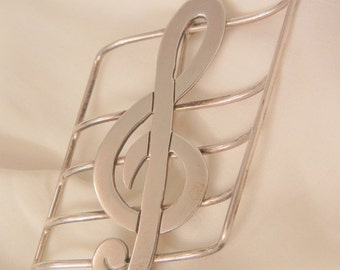 Huge Sterling Mexico Tremble Clef musical note Brooch
