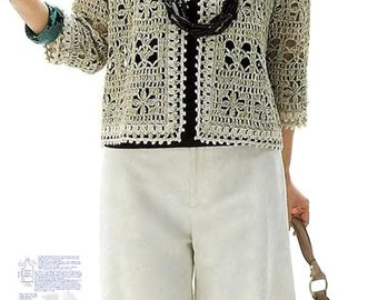 Elegant crochet jacket PATTERN, casual crochet jacket PATTERN, CHARTS and basic instructions in English, charts are not interpreted in words