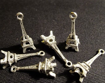 BULK (pkg/30) Small Paris France Eiffel Tower Charms - for pendants, jewelry making, crafts, scrapbooking