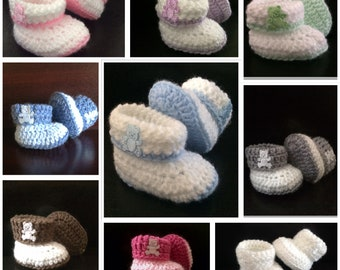 Baby boy girl booties crochet baby shoes baby shower gift newborn baby shoes gift cuffed