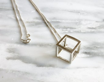 Sterling Silver Cube Necklace, Cube Pendant, 3D Designed Necklace, 3D Cube Necklace, Geometric Necklace, Modern Necklace, Stacking Necklace