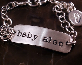 Hand Stamped Baby ID Bracelet by donnaodesigns