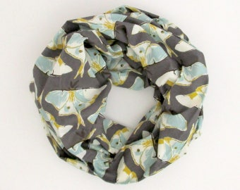 Infinity Scarf - Gray Gold Blue Luna Moths - Cotton Fashion Tube Scarf