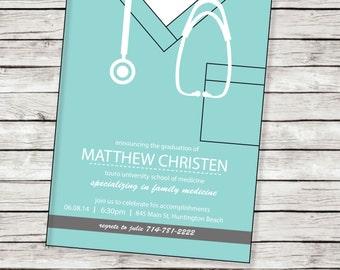 Medical School Graduation Invitation, Nursing School Graduation Invitation, Invite