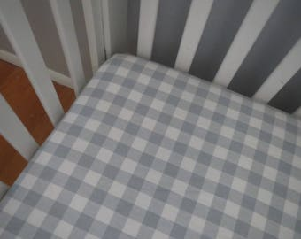 Gray Buffalo Check Plaid Flannel Fitted Crib Sheet