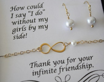 6 Bridesmaid Infinity Bracelet Sets, Infinite Gold Jewelry, Bridesmaid Gifts, Silver, Pearl, Gold Bracelets, Thank You Card, Pearl Earrings