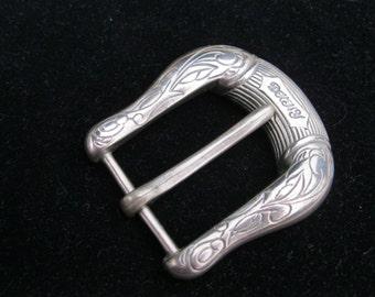 vintage DKNY Buckle, nickel silver buckle