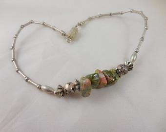 Green Jasper Silver Anklet Bracelet