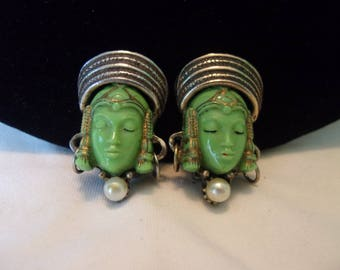 Selro Selini Green Asian Woman Face Thai Girl Princess Gold Plate Vintage Clip Earrings