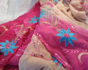 Fancy Indian Silky Chiffon Scarf Wrap - Embroidered Pink and Tan G695