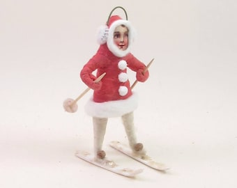 READY TO SHIP Vintage Inspired Spun Cotton Skier Ornament/Figure