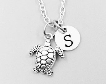 Sea turtle necklace, personalized necklace, sea turtle charm necklace, initial necklaces, sea turtle charm, sea turtle pendant, sea turtle