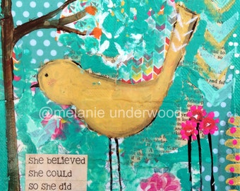 she believed/ she could so she did quote/nursery decor/bird original painting/bird collage art/inspirational painting