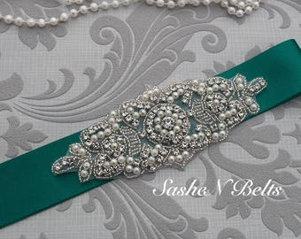 Wedding belt, jade bridal belt, bridal , green bridesmaid belt,  sash belt, wedding sash, crystal rhinestone belt, dress belt
