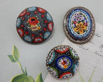 3 Vintage Italian Mosaic Floral Pins or Brooches    PY38