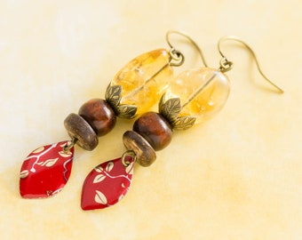 Citrine Earrings with Vintage Wooden Beads and Red and Gold Leaf Vintage Tin Charms, Antique Brass, Citrine Jewelry