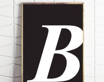 instant download letter, letter b art, letter b download, capital b art, b instant art, b modern printable, download b, b gift, b wallart