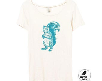 Squirrel Tshirt - Teal Squirrel - Namaste - Scoop Neck -  Eco Friendly - Bamboo - Organic Cotton - Small, Medium, Large, XL