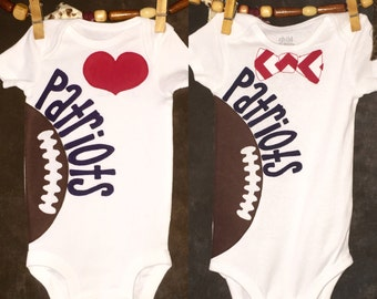 Pesonalized New England Patriots Heart OR Bow Tie Team Football Bodysuit