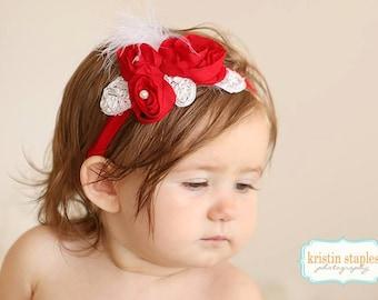 Red Baby Headband, Red Shabby Chic Headband, Red Girls Headband, Christmas Headband, Red Newborn Headband, Red Fancy Headband, Photo Prop