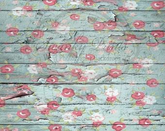 6ft x 5ft Vinyl Photography Backdrop  / Peeling Rose Wood