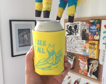 I See It All Surfer Cat Drink/Beer Cozy