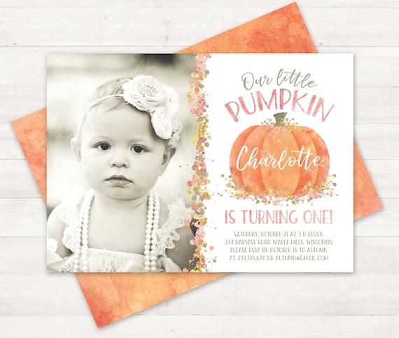 Photo pumpkin first birthday invitation little pumpkin filmwisefo Image collections