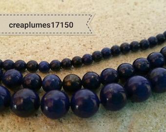 Set of 23 beads 8mm blue lapis lazuli