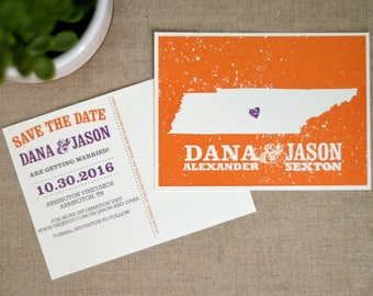 Orange and Purple State of Tennessee Save the Date  // Wedding Save the Date Postcards // BP1