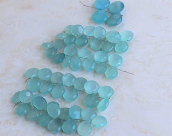 Aqua Blue Chalcedony Gemstone Briolette Faceted Heart 12 to 12.5mm 15 beads