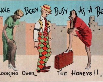 Vintage Comic Postcard E.C. Kropp Co. C 149  - Looking Over The Honeys