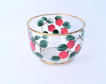 Cherry Bowl, Hand painted Vintage Glass Bowl with gold Trim, Medium Size