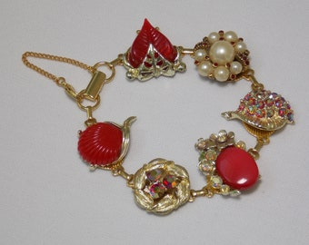 Cluster Earring Statement Bracelet in Red with Pearls and AB Rhinestones from Reworked Midcentury Jewelry