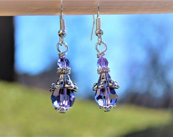 Purple Earrings, Swarovski Earrings, Simple Silver Everyday Dangle Earings, Victorian Style Jewelry, Gift for her, Wife, Mothers day gift