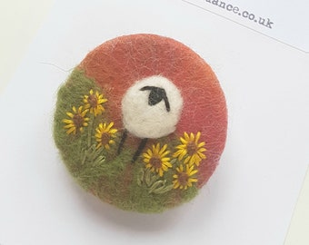Hand felted and embroidered Sheep brooch with sunflowers  - autumnal red / orange handcrafted felted wool brooch