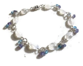 Rainbow Moonstone Bracelet - Blue Topaz and Tanzanite Gemstone Jewellery - Sterling Silver Jewelry - Iridescent - Beaded