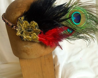 SOLD! The Aerialist: Rhinestone and Feather Circus Head Piece
