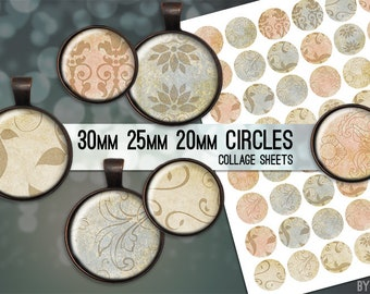 Vintage Paper Digital Collage Sheet Circle 30mm 25mm 20mm Download Sheets for Glass or Resin Pendants Cuff Links Round