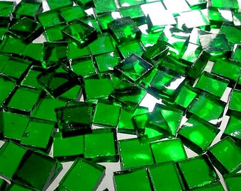 """100 1/4"""" TINY TILES EMERALD Green Cathedral Stained Glass Mosaic T9"""