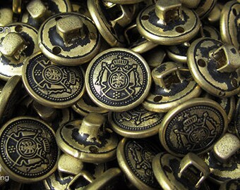 12pcs   Brass+Black - 15mm - CSSB-CVPF15 - Copper Shank Sewing Button