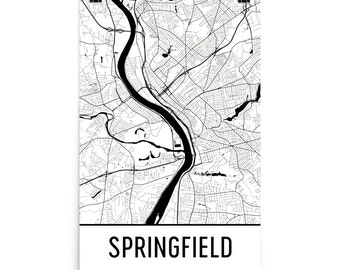 Springfield Map, Springfield MA Art, Springfield Print, Springfield MA Poster, Springfield Wall Art, Map of Springfield, Springfield Gift