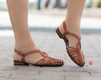 Woven Leather Sandals,Women's Sandals, Summer Shoes, Leather Flats, Leather Shoes, Flat Sandals , Handmade, Free Shipping