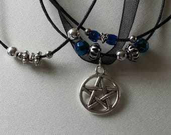 Pentagram on Organza and cord