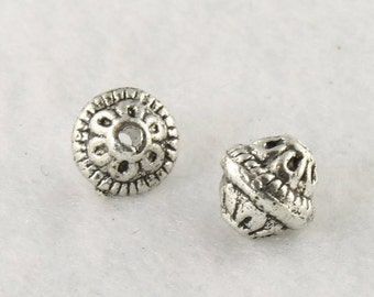 Antique Silver Bicone Bead - Lead Free Bicone Bead - Bead Findings - Bali Style Pewter Bicone - Coil and Flower Design - 6x7mm - PWT551S