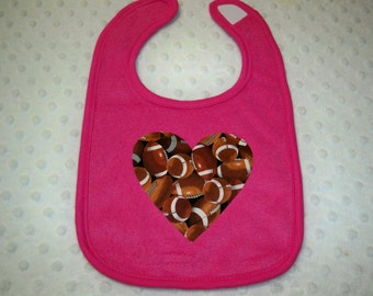 Football Bib - Pink Football Heart Bib - Baby Bib - Baby Girl Pink Football Bib - Baby Girl Football Bib