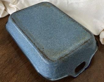 Graniteware casserole dish, blue, antique